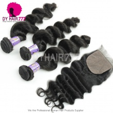Best Match 4X4 Silk Base Closure With 3 or 4 Bundles Mongolian Loose Wave Standard Virgin Human Hair Extensions