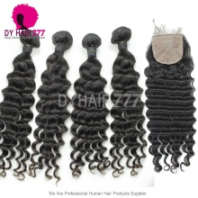 Best Match 4*4 Silk Base Closure With 4 or 3 Bundles Standard Virgin Peruvian Deep Wave Human Hair Extensions