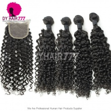 Best Match Top Lace Closure With 4 or 3 Bundles Standard Virgin Peruvian Deep Curly Human Hair Extensions
