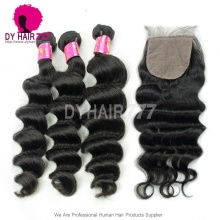 Best Match 4*4 Silk Base Closure With 3 or 4 Bundles Malaysian Loose Wave Royal Virgin Human Hair Extensions