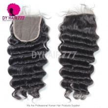 5* 5 Lace Top Closure Loose Wave Natural Color Virgin Human Hair Swiss lace
