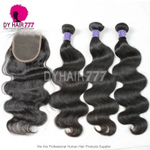 Best Match Royal 3 or 4 Bundles Cambodian Virgin Hair Body Wave With Top Lace Closure Hair Extensions