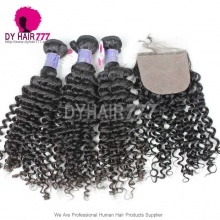 Royal Cambodian Virgin Hair 4 or 3 Bundles Deep Curly With 4*4 Silk Base Closure Best Match