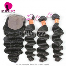 Best Match 4*4 Silk Closure with 3 or 4pcs Loose Wave Royal Grade Burmese Virgin Hair