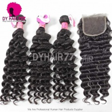 Best Match Royal 3 or 4 Bundles Malaysian Virgin Hair Deep Wave With Top Lace Closure Hair Extensions