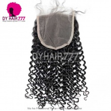 5* 5 Lace Top Closure Deep Curly Natural Color Virgin Human Hair Swiss lace