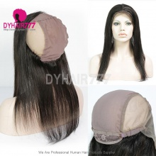 Cap with 13*4 Lace Frontal Closure Human Virgin Straight Hair Natural Color