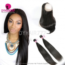 Royal Grade 2 or 3 Bundles Virgin Brazilian Straight Hair With 360 Lace Frontal Hair Extensions