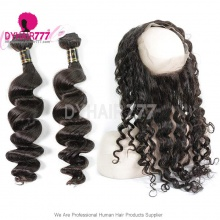 Royal Grade 2 or 3 Bundles Virgin European Loose Wave With 360 Lace Frontal Hair Extensions