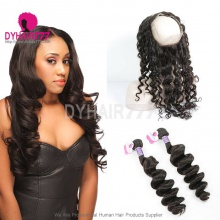 Royal Grade 2 or 3 Bundles Virgin Cambodian Loose Wave With 360 Lace Frontal Hair Extensions