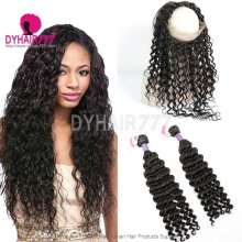 Royal Grade 2 or 3 Bundles Virgin Cambodian Deep Wave With 360 Lace Frontal Hair Extensions