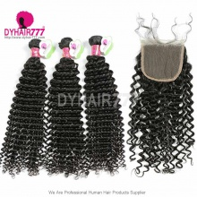 Best Match Top Lace Closure With 3 or 4 Bundles Malaysian Deep Curly Standard Virgin Human Hair Extensions