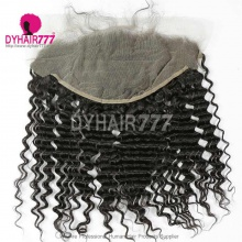 Ear to Ear 13*6 Lace Frontal Closure Curved Lace Deep Wave Human Virgin Hair Natural Color