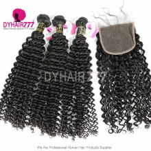 Best Match Top Lace Closure With 3 or 4 Bundle European Deep Curly Royal Virgin Human Hair Extensions