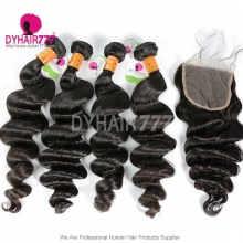 Best Match Top Lace Closure With 4 or 3 Bundles Indian Loose Wave Standard Virgin Human Hair Extensions