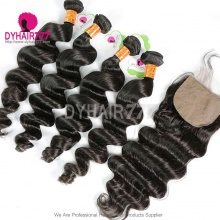 Best Match 4*4 Silk Base Closure With 4 or 3 Bundles Indian Loose Wave Standard Virgin Human Hair Extensions