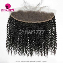 Ear to Ear 13*4 Lace Frontal Closure Human Virgin Hair Kinky Curly Natural Color
