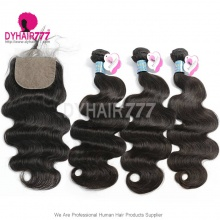 Best Match 4*4 Silk Base Closure With 3 or 4 Bundles Peruvian Body Wave Royal Virgin Human Hair Extensions