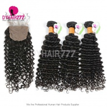 Best Match 4*4 Silk Base Closure With 4 or 3 Bundles Indian Deep Curly Standard Virgin Human Hair Extensions