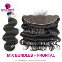 Lace Frontal With 3 Bundles Mongolian Body Wave Standard Virgin Hair Human Hair Extenions