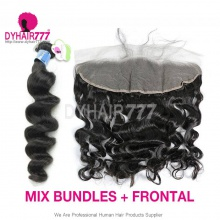 Lace Frontal With 3 Bundles Peruvian Loose Wave Standard Virgin Human Hair Extensions