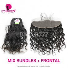 Lace Frontal With 3 Bundles Standard Virgin Burmese Natural Wave Human Hair Extensions