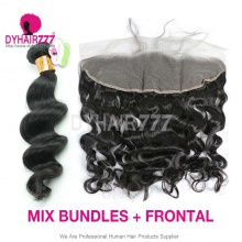 Lace Frontal With 3 Bundles Standard Virgin Indian Loose Wave Human Hair Extensions