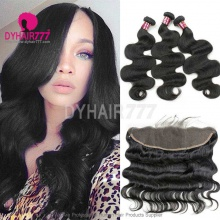 Lace Frontal With 3 Bundles Royal Virgin Brazilian Body Wave Human Hair Extensions