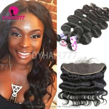 Lace Frontal With 3 Bundles Royal Cambodian Virgin Hair Body Wave Hair Weave
