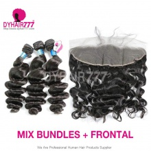 Lace Frontal With 3 Bundles Peruvian Loose Wave Royal Virgin Human Hair Extensions