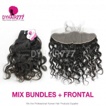 Lace Frontal With 3 Bundle Royal Virgin European Natural Wave Human Hair Extensions