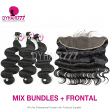 Lace Frontal With 3 Bundle European Body Wave Royal Virgin Hair Human Hair Extenion