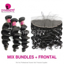 Lace Frontal With 3 Bundles Royal Virgin Brazilian Loose Wave Human Hair Extensions
