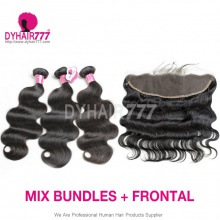 Lace Frontal With 3 Bundles Royal Virgin Malaysian Body Wave Human Hair Extensions