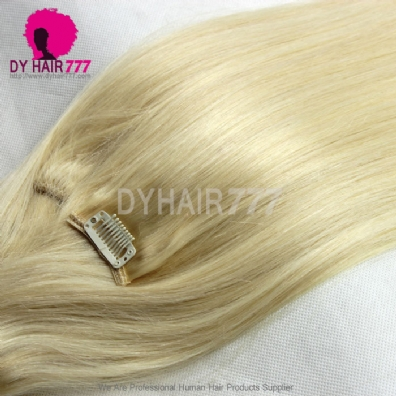 blonde color 613 clip in hair extensions 100 human hair