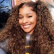 4# Top Quality Virgin Human Hair Deep Curly Lace Frontal Wigs