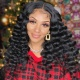 300% Density Lace Frontal Wigs Loose Wave Virgin Human Hair Natural Color