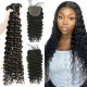Best Match Top Lace Closure With 3 or 4 Bundles Brazilian Deep Wave Standard Virgin Human Hair Extensions