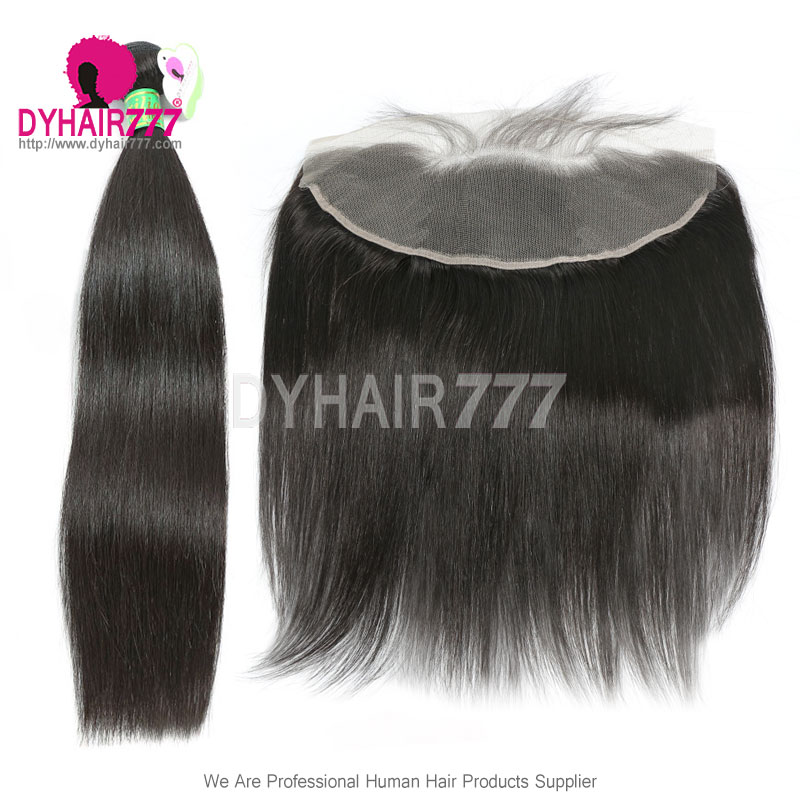 Lace Frontal With 3 Bundles Brazilian Silky Straight Hair Standard