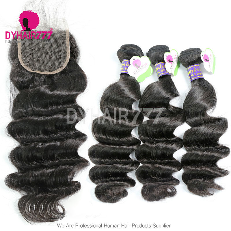Best Match Top Lace Closure With 3 Or 4 Bundle Cambodian Loose Wave