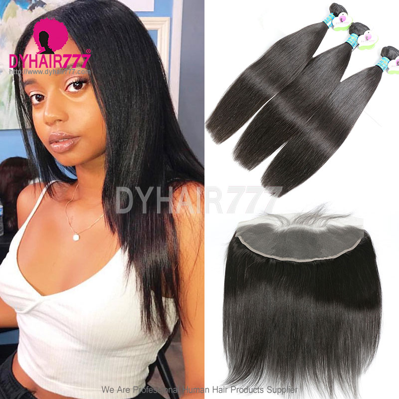 Lace Frontal With 3 Bundles Standard Virgin Remy Hair Peruvian Silky