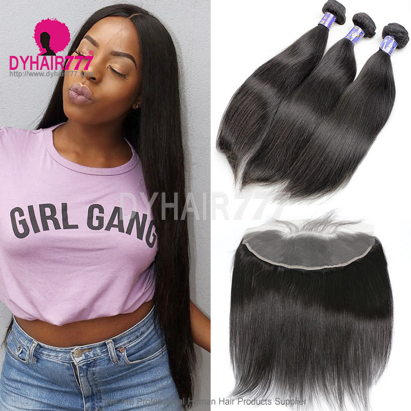 Lace Frontal With 3 Bundle Cambodian Silky Straight Hair Standard