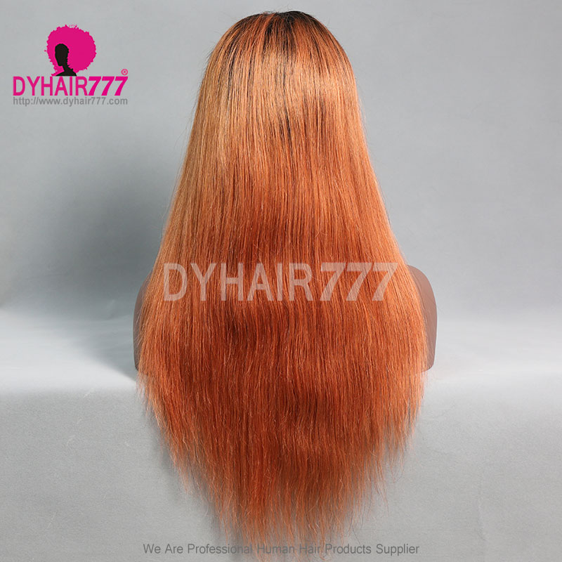 130 Density Lace Front Wig Color 1borange Ombre Straight Hair