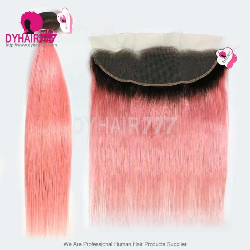 1bpink Royal Grade Ombre Hair Extension 134 Lace Frontal With 3