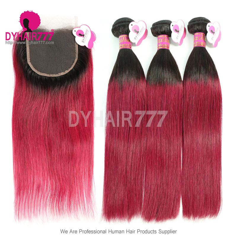 Ombre Human Hair 3 Bundles With Lace Closure 1b99j Burgundy Red