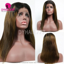 Color 1B/#6 Ombre Wig Top Quality Virgin Human Hair Straight Hair Lace Frontal Wigs