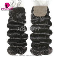 Silk Base Closure (4*4) Loose Wave Virgin Hair Top Closure Freestyle Free Part Middle Part Two Part Three Part