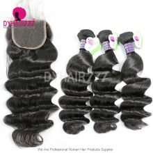 Best Match Top Lace Closure With 3 or 4 Bundle Cambodian Loose Wave Standard Virgin Human Hair Extensions