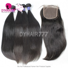 Best Match Royal 3 or 4 Bundles Cambodian Virgin Hair With Top Lace Closure Silky Straight Hair Extensions