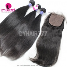 Best Match Royal 3 or 4 Bundles Cambodian Virgin Hair With 4*4 Silk Base Closure Straight Hair Weave